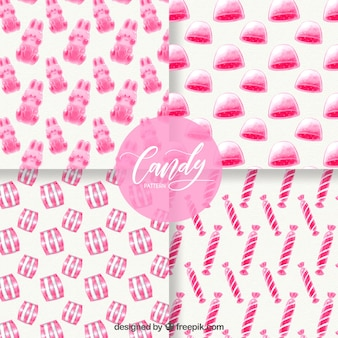 Candies patterns collection in watercolor style
