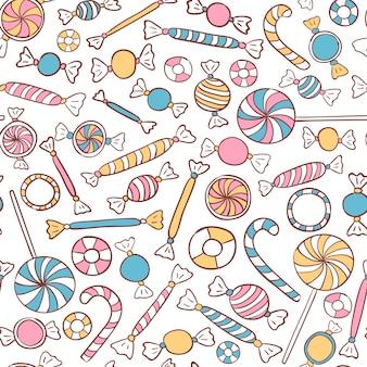 キャンディーシームレスパターン手描き。お菓子のベクトルの背景
