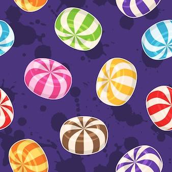 キャンディーのシームレスなパターン。グランジの背景に色のハードシュガーキャンディーとベクトルの背景