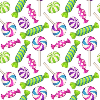 Candies seamless pattern, with various candies