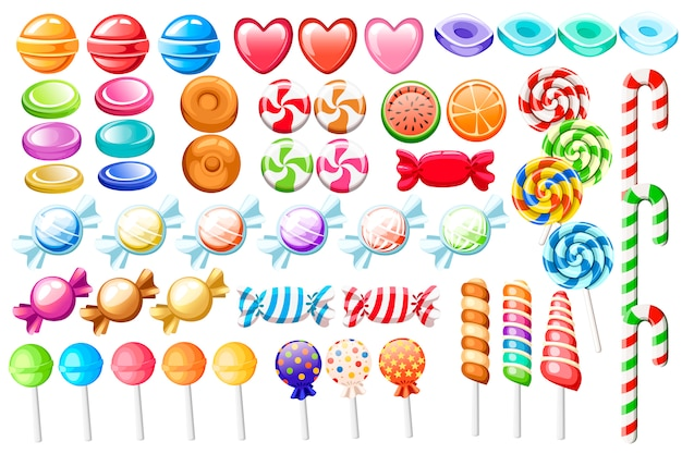 Candies set. big collection of different cartoon style candies. wrapped and not lollipops, cane, sweetmeats. cute glossy sweets. flat colorful icons. illustration isolated on white background.