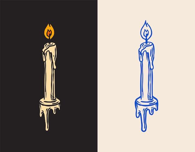 時間をレトロに保つヴィンテージ刻印スタイルの方法でワックスに埋め込まれたキャンドルと点火可能な芯