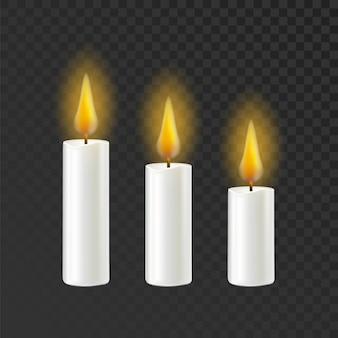 촛불 굽기 불꽃 다른 크기 세트
