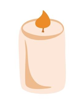キャンドル。燃えるワックスまたはパラフィンキャンドル。アロマテラピー。かわいいヒュッゲの家の装飾、休日の装飾的なデザイン要素。フラット漫画カラフルなベクトルイラストは白い背景で隔離。