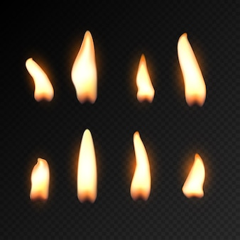 Candle fire flame isolated. realistic candle bright flame