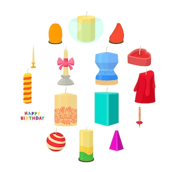 Candle forms icons set, cartoon style
