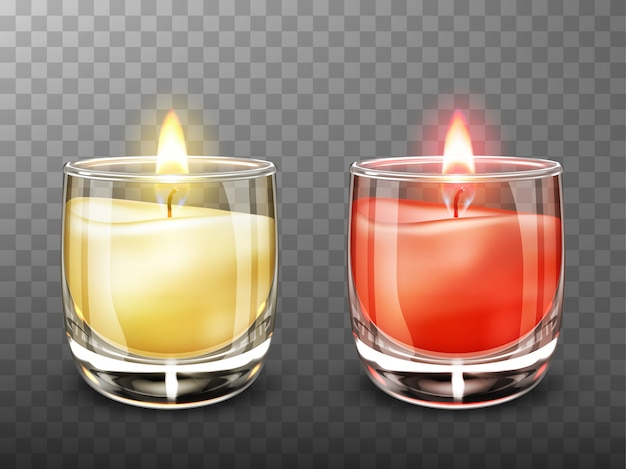 Candle in glass jar realistic illustration