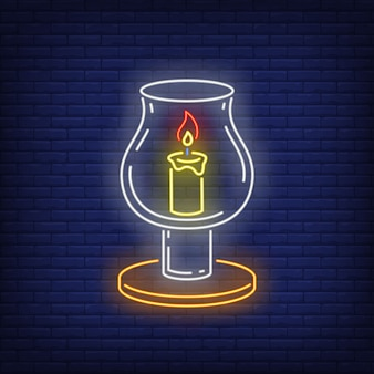 Candle in glass in neon style
