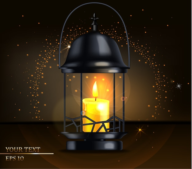 Candle light card holiday illustration