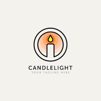 촛불 빛 라인 아트 로고 템플릿 벡터 일러스트 디자인