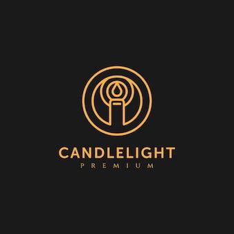 촛불 프리미엄 로고 벡터 일러스트 디자인 서식 파일
