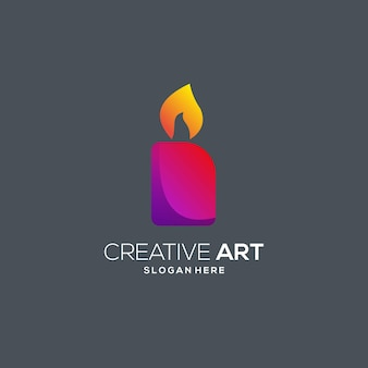 Candle logo colorful modern gradient