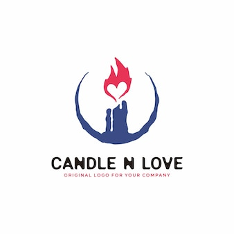 Candle logo with an ancient concept combined with a flame in the form of love