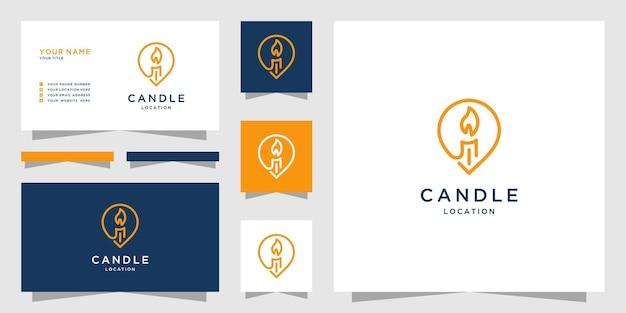 マップマーカーのデザインと線画スタイルのキャンドルのロゴ