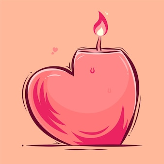 Candle shaped love cartoon valentine's day illustration