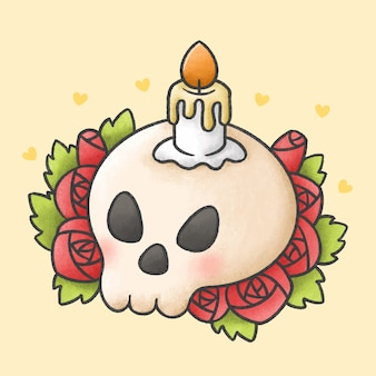 Candle on skull with red rose flowers cartoon hand drawn style