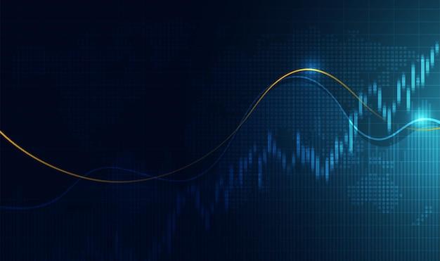 График в виде свечей инвестиционной торговли на фондовом рынке бычья точка медвежья точка