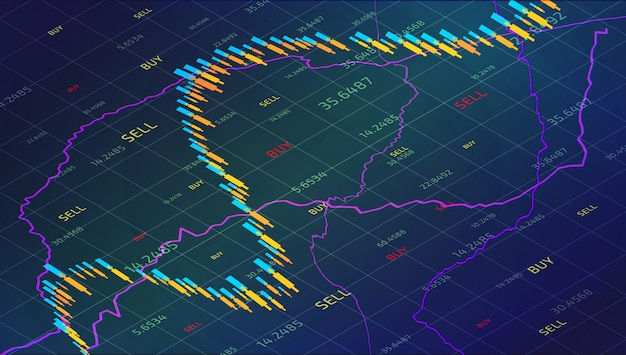 Candle stick stock market tracking graph. forex trading in isometric for financial investm
