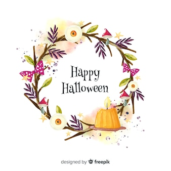 Candle watercolor halloween background