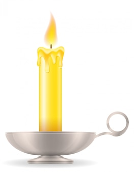 Candle with candlestick old retro vintage vector illustration
