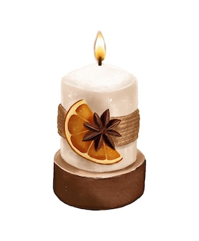 Candle with dried orange and star anise hand drawn template background