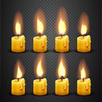 Candle with fire animation on transparent background