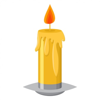 Candle with flame in a candlestick and melting wax vector cartoon illustration isolated