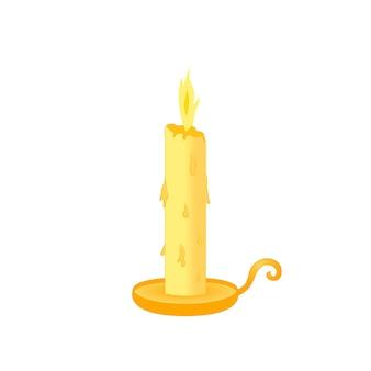 스탠드 노란색, 녹은, 흰색 배경에 고립 된 촛불.