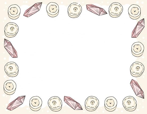 コミックスタイルのキャンドルとクォーツクリスタル飾りフレーム落書き上面図。