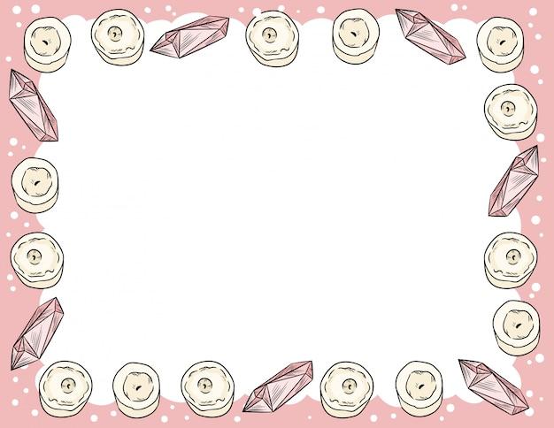 コミックスタイルのキャンドルとクォーツクリスタル飾り落書き上面図。