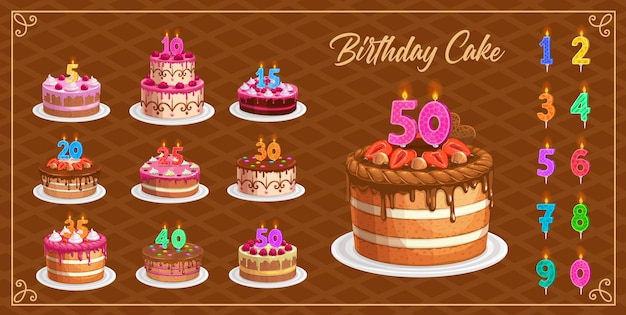 Candles on birthday cakes with age numbers from one to ten isolated icons. happy birthday, party celebration. cupcakes and colorful candle digits with fire light, anniversary candlelights set