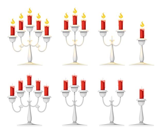 Candles in candlesticks set illustration