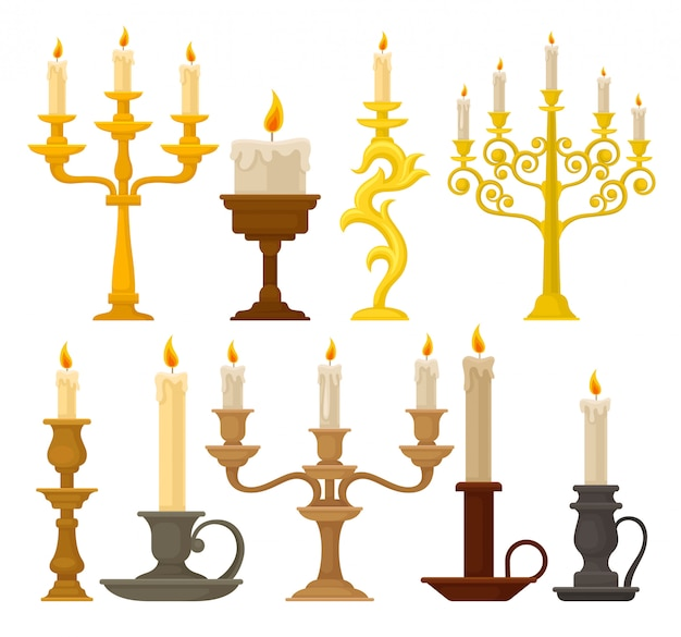 Candles in candlesticks set, vintage candle holders and candelabrums  illustration on a white background