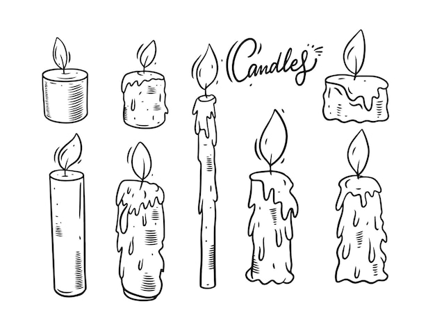 Candles doodle set illustration