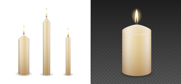 Candles flames set 3d realistic isolated burning on vector transparent or white background. decorative paraffin wax candle light and candlestick. vector illustration