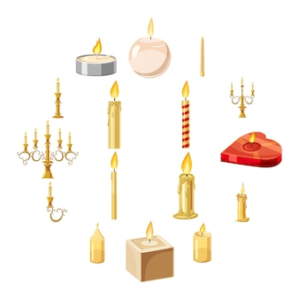 Candles forms icons set, cartoon style