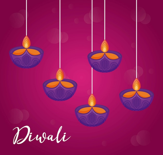 Candles hanging diwali festival icons
