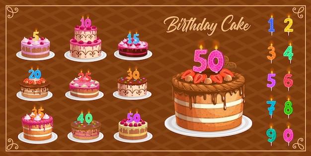 1から10の孤立したアイコンの年齢番号を持つバースデーケーキのキャンドル。お誕生日おめでとう、パーティーのお祝い。カップケーキと火の光、記念キャンドルライトが設定されたカラフルなキャンドルの数字