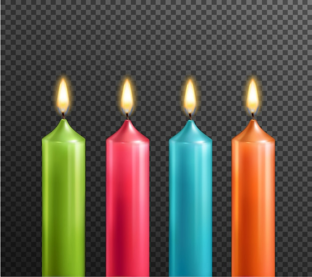 Candles on transparent background realistic set