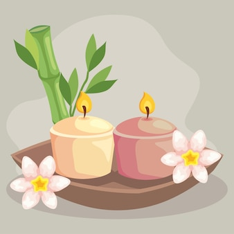 Candles with bamboo of spa