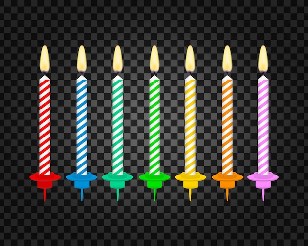 Candles with burning flames of wax paraffin. birthday cake candles.
