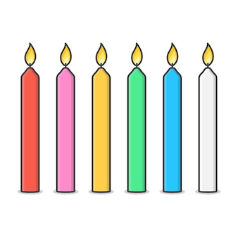 Свечи с иллюстрацией пламени огня. горящая свеча и пламя