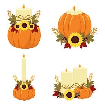 カボチャ、秋の装飾とキャンドル