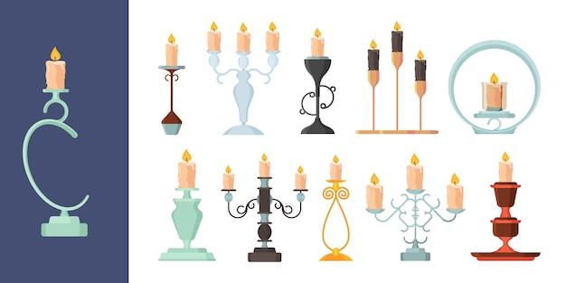 촛대. 촛대 빈티지 금속 촛대 고대 장식 벡터 컬렉션에 불을 태우고 있습니다. 그림 촛불 조명, 녹는 촛불 컬렉션