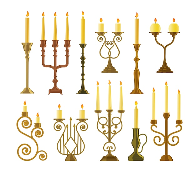 Candlestick icon. vintage candelabrum or candlestick with burning wax candle flame set.