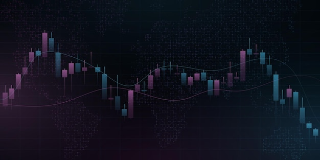 Candlestick price pattern with world map. business background for banner, website or presentation. blockchain concept for graphic design. vector illustration