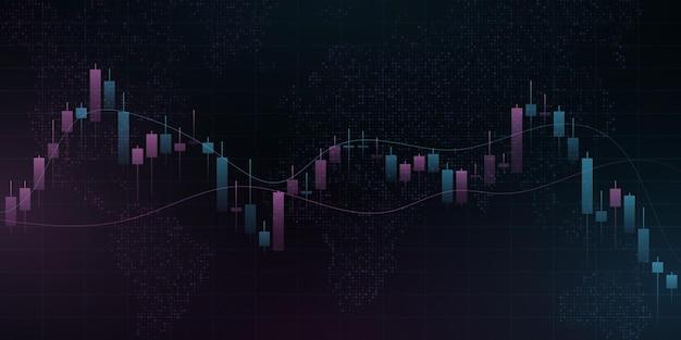 Модель цены свечи с картой мира. деловой фон для баннера, веб-сайта или презентации. концепция блокчейн для графического дизайна. векторная иллюстрация