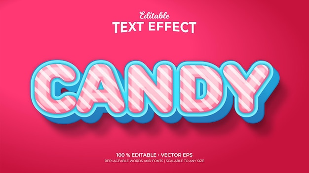 Candy 3d style editable text effects