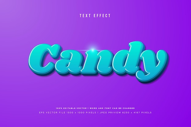 Candy 3d text effect on purple background