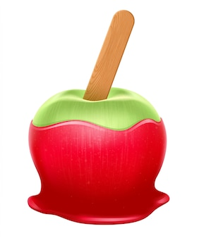Candy apple with wooden stick. red caramel, green apple.